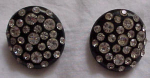 Black thermoplastic earrings w/ rhinestones
