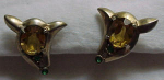 Sterling vermeil retro earrings w/rhinestones