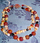 Agate, fresh water pearl & quartz necklace
