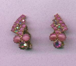 Pink Aurora Borealis Rhinestone and Cabachon earrings