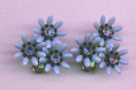 1950's Plastic Flower Earrings with Rhinestones