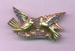 Retro vermeil bird pin with blue rhinestones