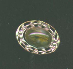 Arts and Crafts pin with glass stone