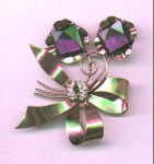 Retro Sterling vermeil bow pin with amethyst glass stones and clear rhinestones
