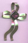 CO China Overseas sterling vermeil retro bow pin with amethyst glass stone