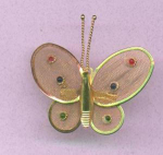 Butterfly pin with rhinestones