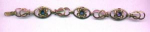 Van Dell retro sterling vermeil bracelet with flower design and blue rhinestones