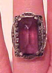 Sterling art deco ring with marcasites and amethyst glass centerpiece