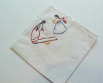 Handkerchief with hand embroidered Asian Women