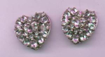hollycraft rhinestone heart shaped earrings