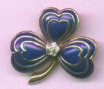 Jomaz enamel and rhinestone clover pin
