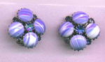 Weiss blue glass and rhinestone earrings