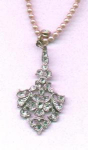 Edwardian /art deco style pot metal and rhinestone pendant on faux pearl chain
