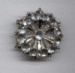 Retro style pin with rhinestones and open back glass stones