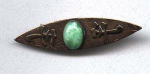 Copper Arts & Crafts Bar pin with Chrysoprase