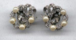 Mazer earrings with rhinestones and faux pearls