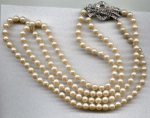Double strand faux pearls w/rhinestones