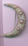 Moon pin with rhinestones and faux pearls