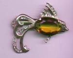 Sterling vermeil fish pin with yellow glass belly