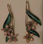 Enameled Lily earrings