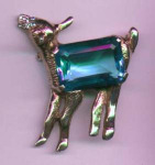 Lamb pin with blue glass belly