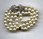Faux pearl and rhinestone bracelet