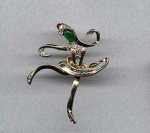 Dancer pin with rhinestones and cabachons