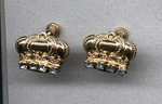 goldtone crown earrings with rhinestones