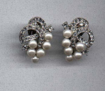 Ledo rhinestone and Faux pearl earrings