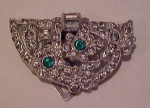 Art deco rhinestone dress clip w/cabachons