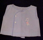 child's light blue shirt with bunny
