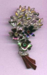 Pot Metal/Enamel & rhinestone flower pin