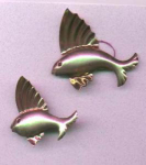 Pair of sterling vermeil fish pins
