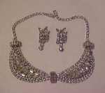 Rhinestone bib necklace and earrings