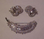 Trifari rhinestone pin & earrings