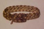 14k gold victorian braided bracelet w/garnet