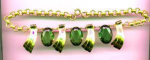 Click here to enlarge image and see more about item f332: Retro style necklace with green glass stones