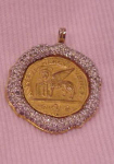 Nettie Rosenstein pendant with rhinestones