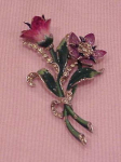 Mazer enamel and rhinestone flower pin