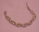 Pennino faux pearl and rhinestone bracelet