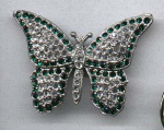 Pot metal and rhinestone butterfly pin