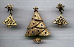 Click here to enlarge image and see more about item f3506: Mylu Christmas tree pin and earrings
