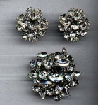 Click here to enlarge image and see more about item f3507: Warner rhinestone pin and earrings