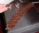 Renoir copper link bracelet and matching earrings