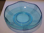 Blue depression glass bowl
