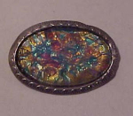 Silvertone pin with opalescent glass