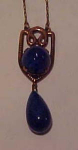 Czechoslovakian blue glass necklace