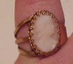 Click here to enlarge image and see more about item f4111: Cameo ring set in brass