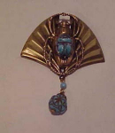 Click here to enlarge image and see more about item f4115: Czechoslovakian Egyptian Revival pin Scarab
