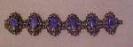 Chunky silvertone bracelet w/glass & rhinesto